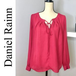 Maroon Long Sleeve Front Tie Top by Daniel Rainn
